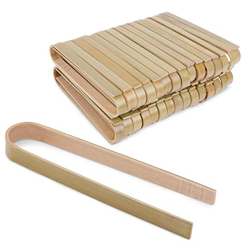 Bimnic Wooden Tongs60 pcs Mini Toaster Tongs Mini Bamboo Tongs for the Kitchen PlanetFriendly and Sustainable Design Easy to Use Ergonomic Design Wooden Cooking Tongs