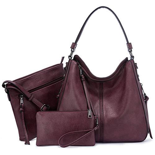 Realer Damen Handtaschen Groß Shopper Lederhandtasche Schultertasche Umhängetasche Geldbörse Hobo Damen Taschen Set für Büro Schule Einkauf Reise 3pcs Weinrot