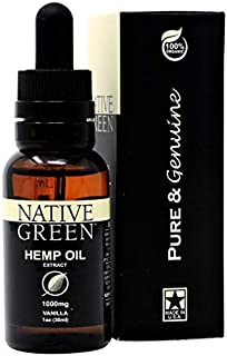 Native Green (Vanilla 1000mg) Hemp Oil for Pain Relief, Anxiety, Better Sleep, Insomnia, Skin Health, Depression & Stress ...