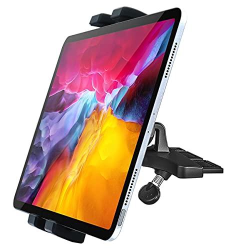 Soporte Tablet de Coche para CD Ranura, woleyi Soporte Movil Tableta con Reproductor de CD de Rotación Completa, para iPad Pro 9.7 10.5 11 Air Mini, iPhone 12 Pro Max 11 XS y 4-11' Teléfono & Tablet