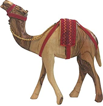 Holy Land Market Olive Wood Camel with Full Neck and Body Red Saddle and Chain  11 Inches Dia and 8 Inches high