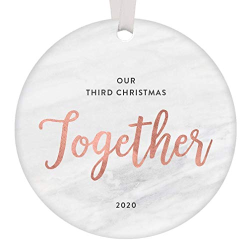 Lplpol Christmas 2020 Ceramic Circle Ornament Third Anniversary Together Keepsake Gift 3rd Year Married Engagement New Homeowner Couple Best Friends Mr & Mrs Blush Pink Decoration, 3 Inch, RE1900