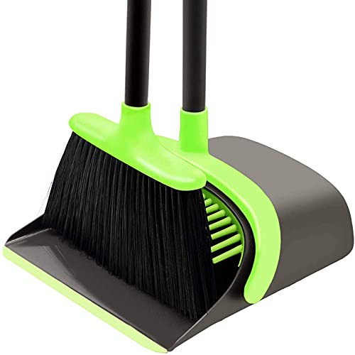 Product Image of the Broom and Dustpan Set Cleaning Supplies - Upright Broom and Dustpan Combo with Long Extendable Handle for Home Kitchen Room Office Lobby Floor Use Upright Stand up Dustpan Broom Set (Green)