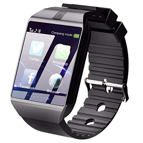wasserdichte drahtlose Smartwatch mit Kamera SIM TF Karte Android Smartwatch Anruf Armbanduhr für Android, Schwarz Schwarz