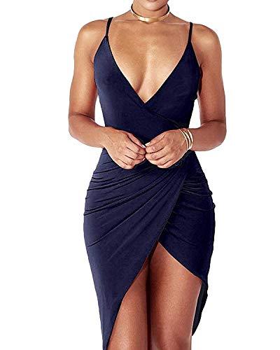 DRESHOW Damen Sexy Tief V Ausschnitt Kleid Träger Rückenfreies Kleider Sommerkleider Figurbetontes Wickelkleid Cocktailkleid Midi Club Kleid