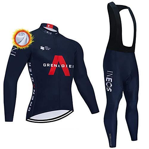 Completi Ciclismo Squadre Invernale Maglia Ciclismo Uomo Salopette Pantaloni Lunga Set di Abbigliamento Ciclismo Uomo Invernale (Opzionale)