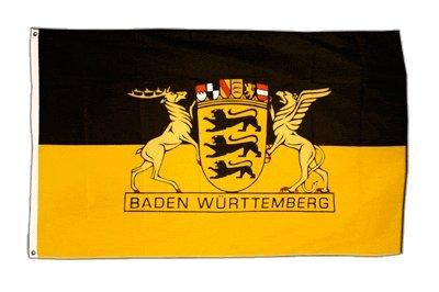 Fahne / Flagge Deutschland Baden-Württemberg mit großem Landessiegel + gratis Sticker, Flaggenfritze®