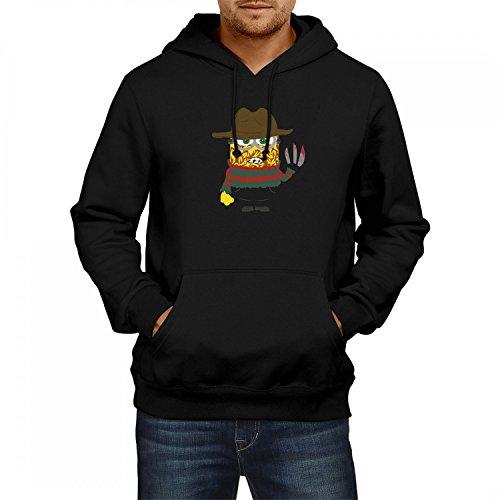 Fashionalarm Herren Kapuzen Pullover - Freddy Krüger Min. Parodie | Fun Hoodie als lustige Geschenk Idee für Horror Nightmare E. Street Film Fan, Farbe:schwarz;Größe:L