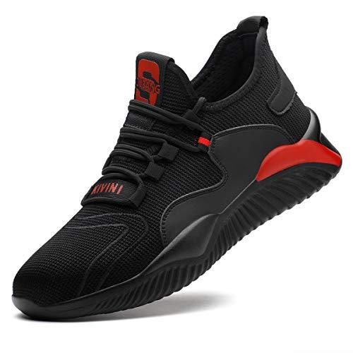 Sicherheitsschuhe Stahlkappe 37 Arbeitsschuhe S3 Damen Herren Arbeit Schuhe Männer Frauen Sicherheit Sneaker Turnschuhe Sportlich Schutzschuhe Atmungsaktiv Trekkingschuhe für Kinder Jungen Schwarz Rot