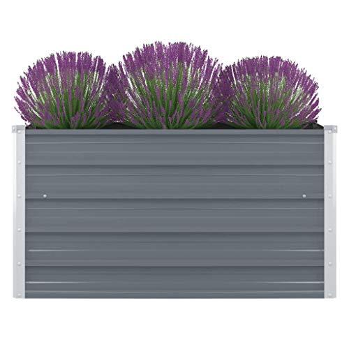 vidaXL Hochbeet 100 x 100 x 45 cm Verzinkter Stahl Grau