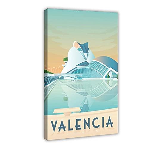 Póster vintage de viaje europeo valencia lienzo para decoración de dormitorio, paisaje, oficina, decoración de habitación, marco de regalo de 60 x 90 cm