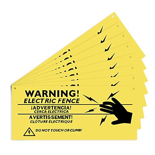 AIEX 8 Stück Warnschilder Für Elektrozäune 26x11cm Kunststoff-Warnschilder Kein Berührendes Oder Kletterndes Schild Für Gefahr Elektrozaunschild Farm Home