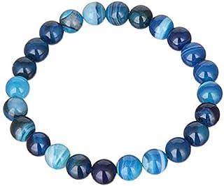 سوار خرز العقيق الأزرق المخطط 8 ملم مجوهرات عصرية للنساء والرجال للعشاق أساور مناسبة كهدية عيد الحب