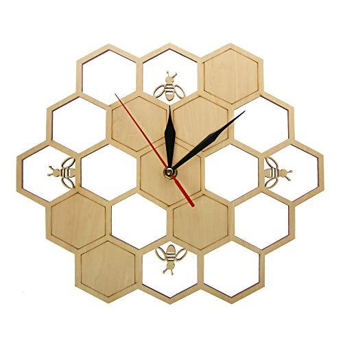 yaoyao wandklok bij en honingraat natuurhout wandklok zeshoekige muurkunst hout bij honing hedendaagse klok klok huis woonkamer decor geen schade voor het milieu en de gezondheid