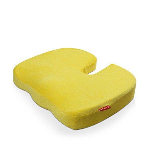 Mousse à mémoire de forme coussin d'assise au bureau de siège de voiture Tapis Superbe fessier Coussinets jaune
