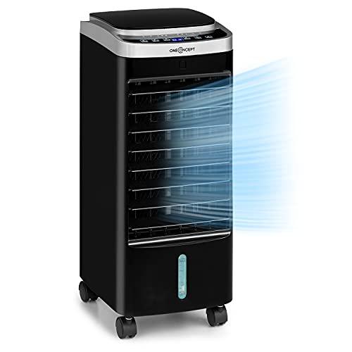 Oneconcept Freshboxx Pro - Ventilador 3 en 1, Enfriador de Aire, humidificador, 65W, 966m³/h, 3 Niveles de Potencia, depósito de 5 litros, oscilación Vertical y Horizontal a 120º, Negro