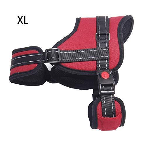 ASOSMOS Hund Verstellbare Klettergurt mit Griff Choke rutschfeste Ausgezeichnet für Ausbildung Wandern - Rot, XL