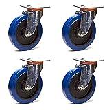 4 ruedas pivotantes, 100 mm, goma elástica azul LOT11 - Rueda pivotante con estructura de chapa de acero tratado con zinc, 100 de diámetro, goma azul, desplazamiento frontal sencillo, arranque con poco esfuerzo, silencioso, no deja restos, movimiento