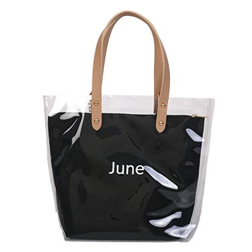 Luckycat bolsa de dos empaqueta el sistema Letra Impreso muchacha de las mujeres del hombro del bolso de PVC transparente de plástico de playa del verano Crossbody de bolsas de mensajero