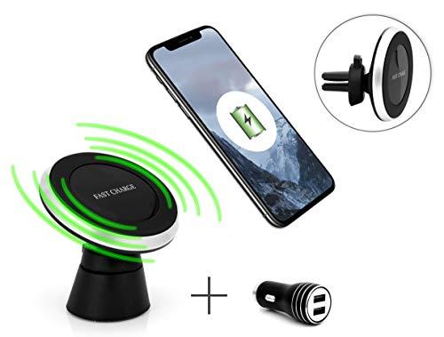 MyGadget Magnet Qi Handyhalterung fürs Auto - KFZ Wireless Ladegerät Armaturenbrett & Lüftung Halterung + USB Charger für z.B. iPhone XS X 8, Galaxy S9 S10