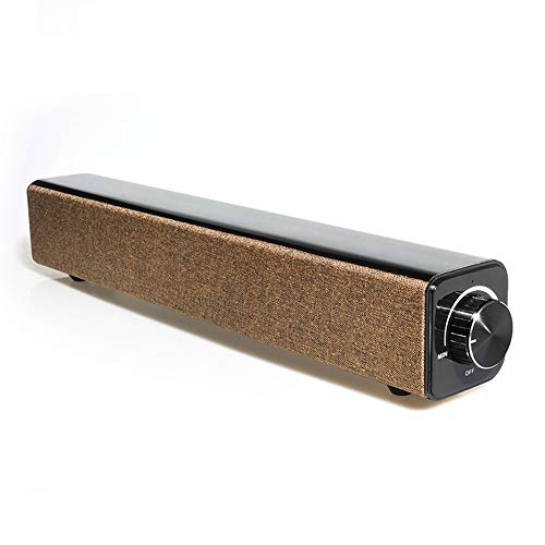Sound Bar, Wireless Bluetooth Speaker Compact Smart Speaker Auto Sleep Subwoofer Stereo Sound TV Sound System, Thuisbioscoop Indoor,Brown