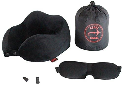REDUX TRAVEL - Almohada de Viaje Cervical de Espuma de Memoria viscoelástica - Kit con Antifaz + Tapones para Dormir - Ideal para Viajes en avión y Coche
