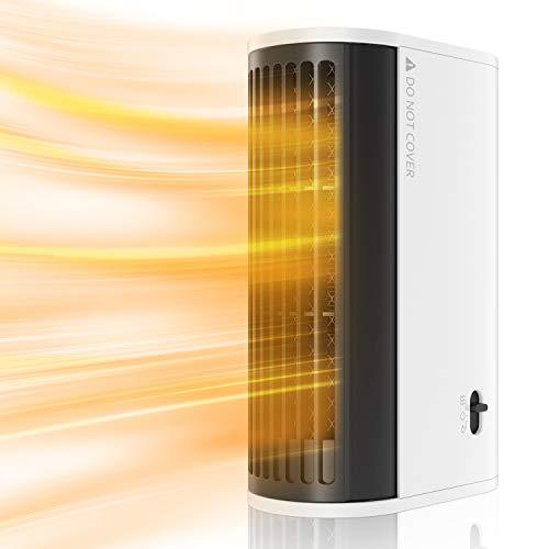 EXTSUD Elektronischer Heizlüfter, Tragbar Mini Heizung Heizgerät Elektroheizung mit 2 Modi Enegiesparend und Leise Heizstrahler Ohne Feuer für Schlafzimmer, Büro und Kinderzimmer