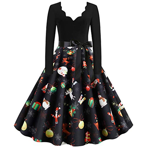 Floweworld Damen Vintage Cocktailkleider Mode V-Ausschnitt Langarm Plissee A-Linie Kleider Weihnachten 1950er Jahre Abendgesellschaft Kleider