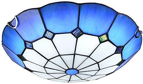 WTTWW Tiffany Light Lighting Room LED LED Lámpara de Techo Lámpara de Techo Moderna Lámpara de Techo Moderna Dormitorio Hall Pasillo Estudio Engranaje Iluminación Techo Tiffany Estilo Redondo V.