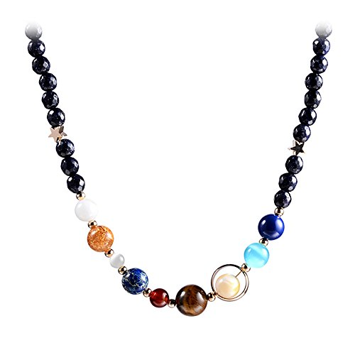 Menglina Women Stone Bead Charm Bracelet Universe Galaxy the Eight Planets Nine Planets in the Solar System Guardian Star Bracelets