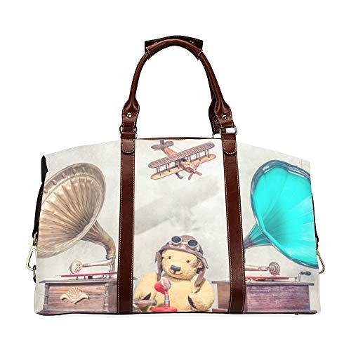 Mens Duffel Bag Travel Altes Grammophon Mit Horn Lautsprecher Klassische Übergroße wasserdichte Pu-Leder Kompakte Reisetasche Reisetasche