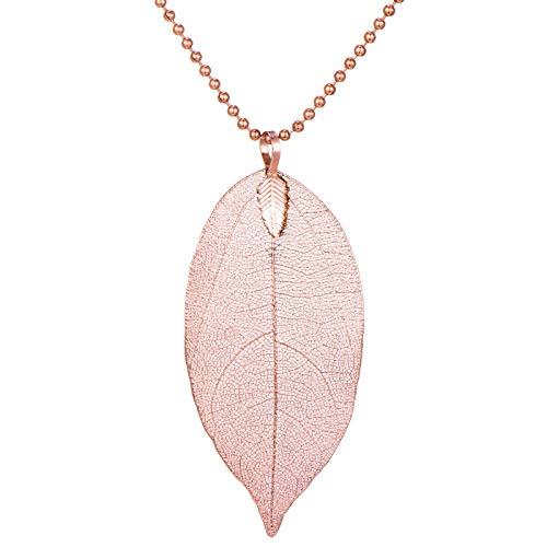 Morella Collana da Donna 80 cm in Oro Rosa con Una Vera Foglia Come Pendente e Confezione a Sacchetto