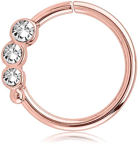 viva-adorno Knorpel Piercing Ring Kristall Ohrpiercing Helix Cartilage Tragus Nasenring 316L Chirurgenstahl Z489, Ring 3X Rosegold/klar