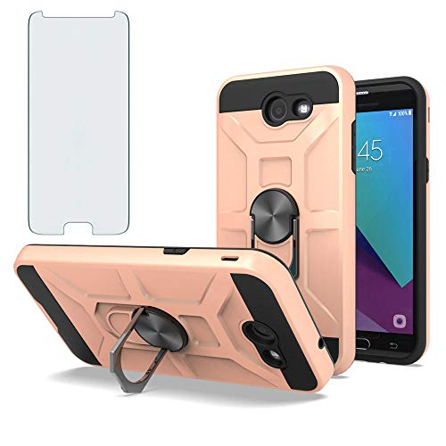 Phone Case for Samsung Galaxy J7 Prime 2017 J7V V Skypro Sky Pro S727VL with Tempered Glass Screen Protector Cover and Ring Holder Stand Hard Accessories Glaxay Halo J 7 Perx J7prime Cases Rose Gold