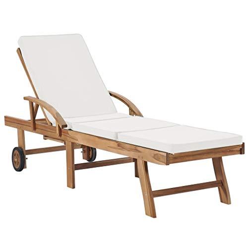 vidaXL Sun Lounger with Cushion Solid Wood Teak Cream White