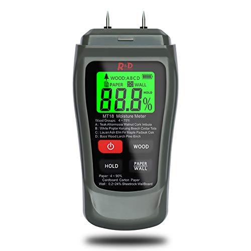 Feuchtigkeitsmessgerät, Feuchtemessgerät Digitales, Pin-Typ Feuchtigkeitsmesser mit HD-LCD Hintergrundbeleuchtung und Batterie enthalten für Holz Brennholz Wände Estrich Baustoffen