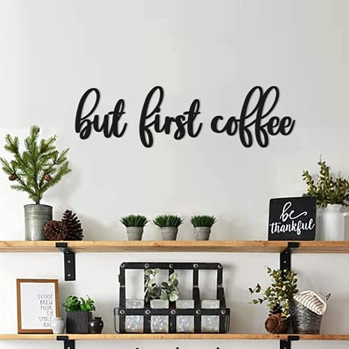 Coffee Bar Kitchen Wall Decor Coffee Wood Signs But First Coffee Words Decorations for Home Decoration Art, Kitchen, Eating Area, Breakfast Nook, Cafe or Restaurants Diner, House Warming Gifts, Black