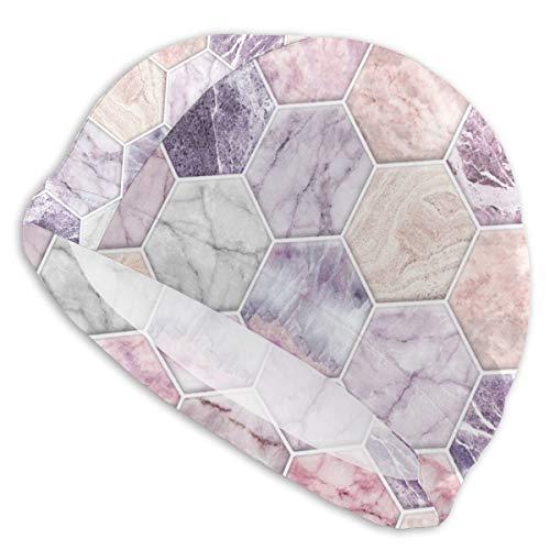 Cuffia da nuoto in quarzo rosa e pietra ametista e marmo esagono piastrelle, cappello da bagno, doccia e protezione per le orecchie, per uomini, donne e adulti