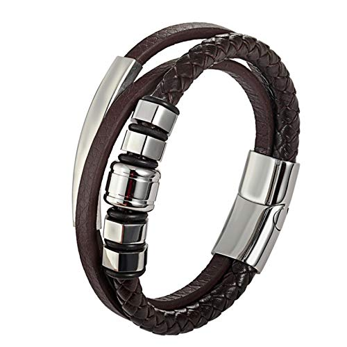 XUFAN Men's Multilayer Stainless Steel Bracelet Leather Jewelry Magnetic Buckle Multilayer Cuffs Fashion bracelet (Color : B, Size : 23cm)