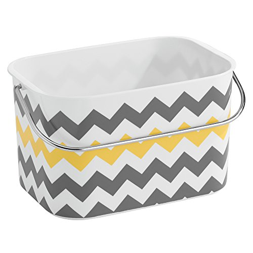 """iDesign Una Plastic Chevron Tote Basket with Handle for Storage in Bathroom, Kitchen, Bedroom, College Dorm, 9"""" x 6.5"""" x 5.25"""" - Gray and Yellow"""