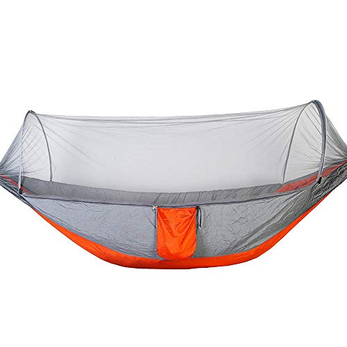 Focket Double Camping Hammock,2 Person Portable Lightweight Soft Breathable Hanging Bed Swing Sleeping Hammock Bed with Mosquito Net for Outdoor,Hiking,Travel (Gray+Orange)