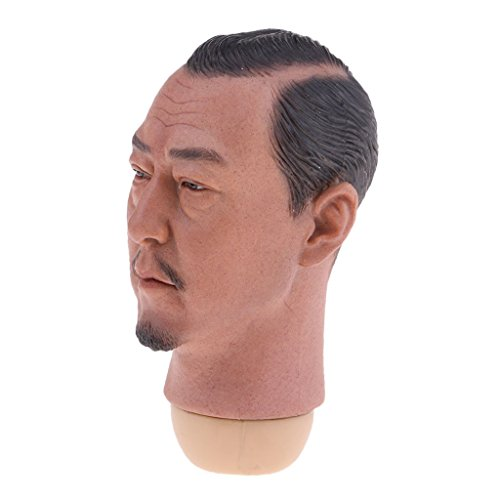 YYHJ IDJRDDF muñecos 1/6 Asian Man Head Model Black Hair for 12'' Phicen Kumik Male Body Parts