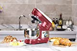 Hozodo Robot Pâtissier,800W Robot de Cuisine avec Crochet,Batteur Électrique, 4L avec 6 Vitesses Robot Multifonctionne avec protection anti-éclaboussures, Fouet, Feuille (Rouge)