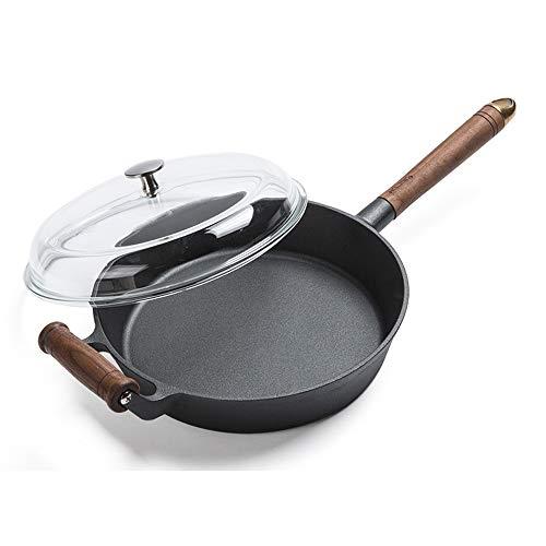 Sksngf Cast Iron Skillet Cacerola, Sin Recubrimiento, no pegajosa, no pegajosa, un Calentamiento Uniforme, fácil de Limpiar, no es fácil de Rust Gas for hornos y cocinas de inducción se Pueden Usar