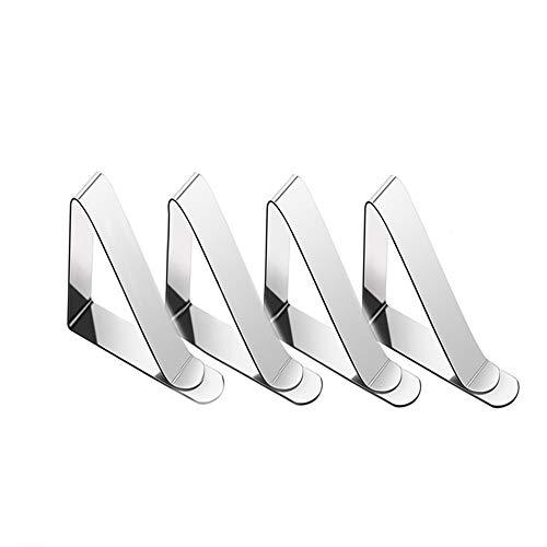 SOOJET Tovaglia Clip, Fermatovaglia Clip in Acciaio Inossidabile Clip per Tovaglia Copritavoli Regolabile Fermatovaglia Fissaggio Morsetti Tovaglia Fermagli per tovaglia - Argento (4)