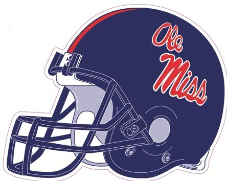 5 Inch Football Helmet University of Mississippi Ole Miss Rebels U of M Logo MS Removable Wall Sticker Art NCAA Home Room Decor 5 by 4 1/2 Inches