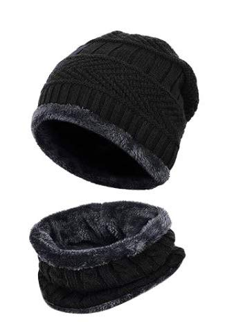 CLOTHERA 2-Pieces Black Winter Warm Knit Thick Beanie Cap and Scarf Set for Men Women