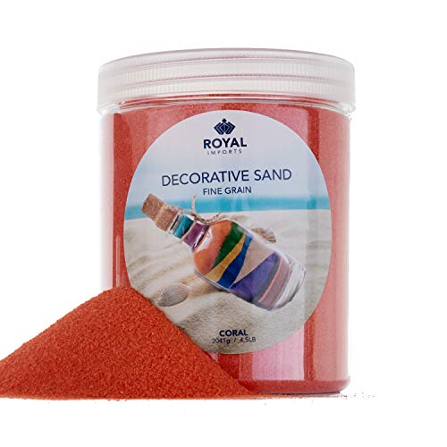 Royal Imports 5 LBS Colored Decorative Beach Sand for Vase Filler, Wedding, Home Décor, Crafts and Therapy Play, Coral