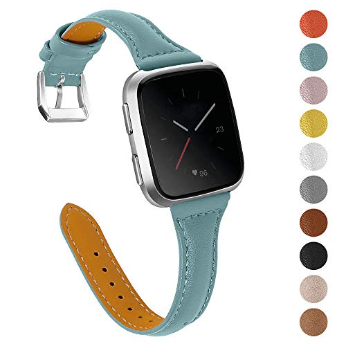 """Joyozy Genuine Leather Bands Compatible with Fitbit Versa&Fitbit Versa 2 &Fitbit Versa SE&New Fitbit Versa Lite Smartwatch,Replacement for Accessories Fitness Strap Women Men(5.5"""" - 7.8"""")"""
