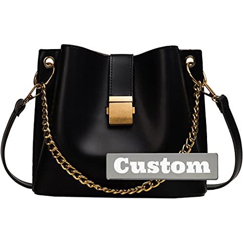 Nombre Personalizado Bolsa de Hombro Liviana de Cuero para Mujer Bolsos de Bolsos (Color : Black, Size : One Size)